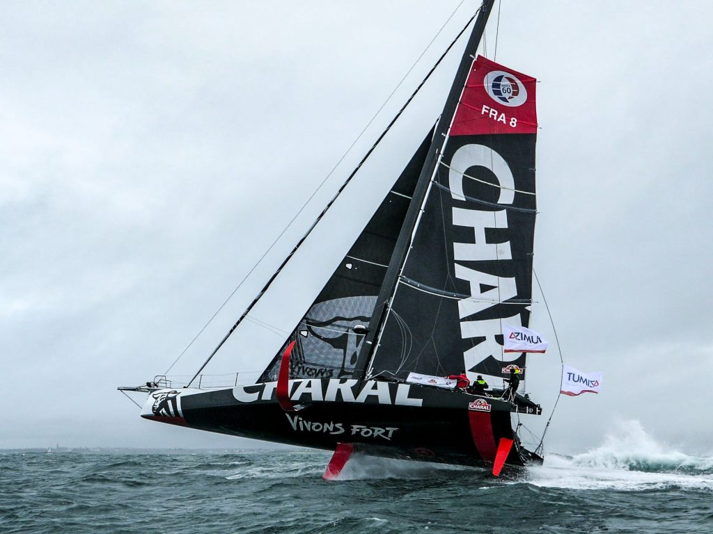 New video of IMOCA 60 Charal foiling at speed