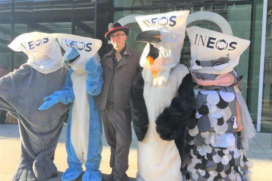 INEOS protest at World Sailing offices.