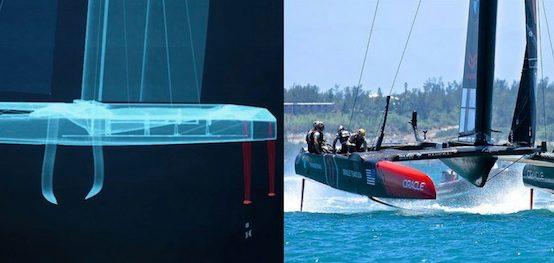 SailGP F50 v America's Cup AC50 catamarans.