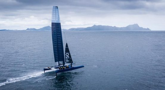 Impressive aerial footage of the first of the SailGP F50 foiling catamarans filmed sailing off Whangarei Heads in New Zealand.