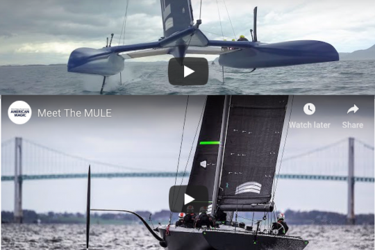 """US America's Cup challenger American Magic get to grips with their test boat, while down in New Zealand United States SailGP Team's embedded media man Matt Knighton pulls off a daring """"fly under"""" of the team's F50 catamaran."""